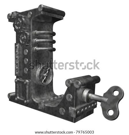 steampunk letter l on white background - 3d illustration - stock photo