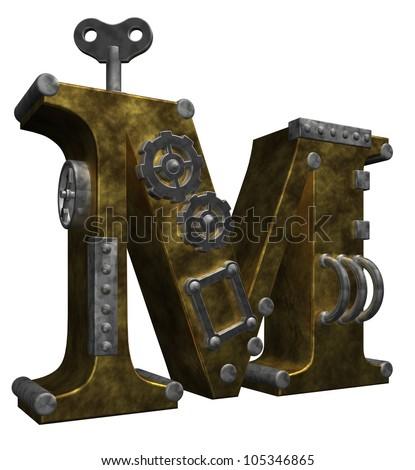 steampunk letter m on white background - 3d illustration - stock photo