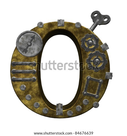 steampunk letter o on white background - 3d illustration - stock photo