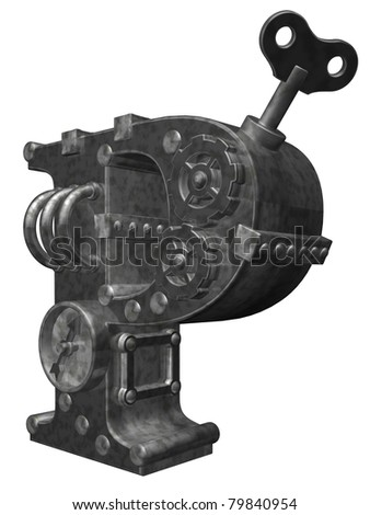 steampunk letter p on white background - 3d illustration - stock photo