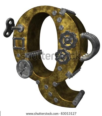 steampunk letter q on white background - 3d illustration - stock photo