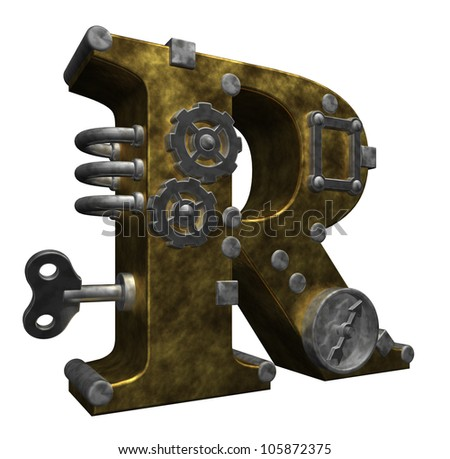 steampunk letter r on white background - 3d illustration - stock photo