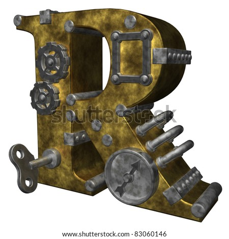 steampunk letter r on white background - 3d illustration - stock photo