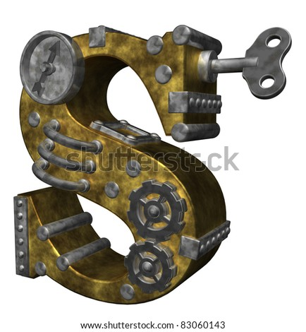 steampunk letter s on white background - 3d illustration - stock photo