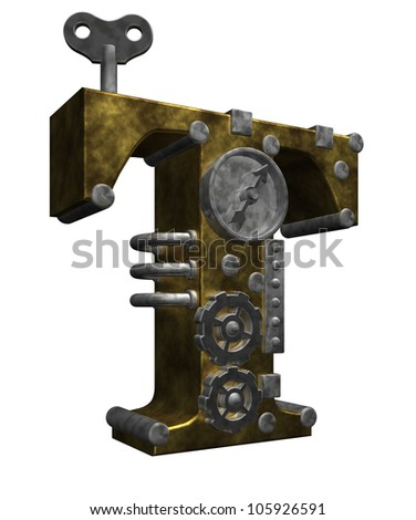 steampunk letter t on white background - 3d illustration - stock photo