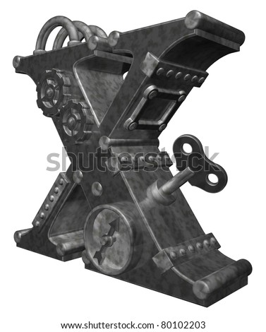 steampunk letter x on white background - 3d illustration - stock photo