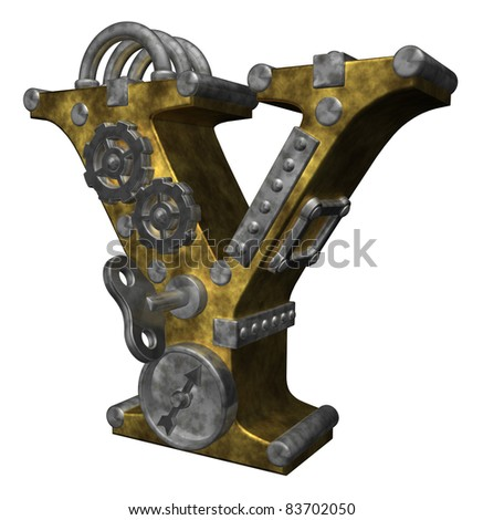 steampunk letter y on white background - 3d illustration - stock photo