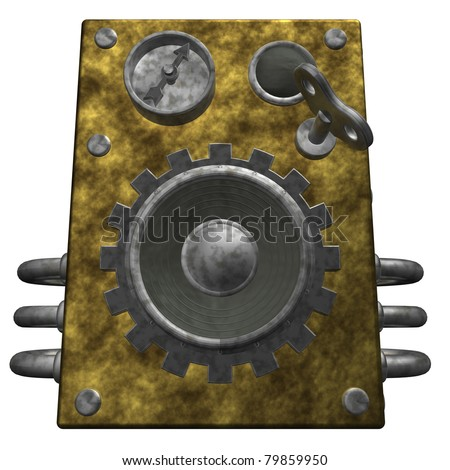 steampunk loudspeaker on white background - 3d illustration