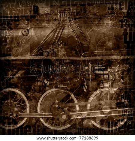 steampunk machinery illustration - stock photo