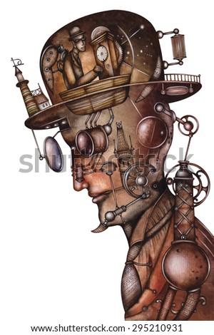 Steampunk Man Illustration - stock photo