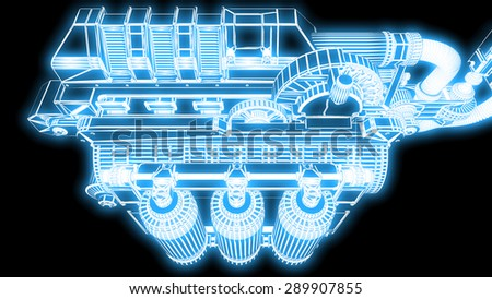 steampunk mechanism blue grid on black background - stock photo