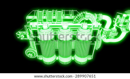 steampunk mechanism green grid on black background - stock photo