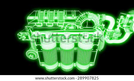 steampunk mechanism green grid on black background - stock photo