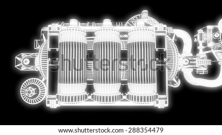 steampunk mechanism white grid on black background - stock photo