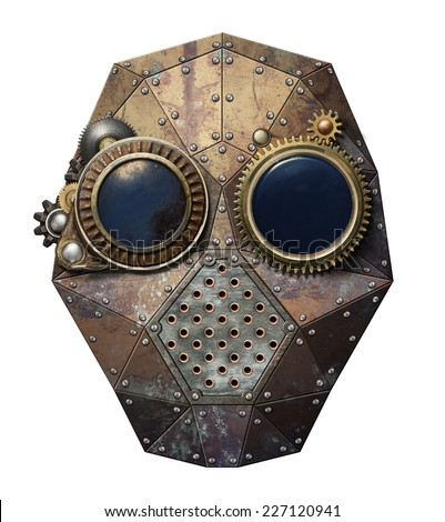 Steampunk metal robot head. - stock photo