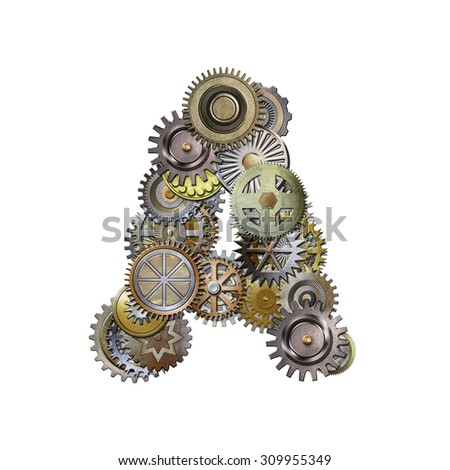 steampunk metallic gears font, letter a - stock photo