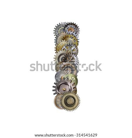steampunk metallic gears font, letter i - stock photo