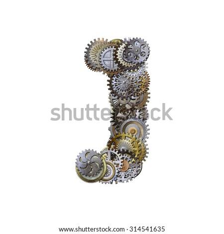 steampunk metallic gears font, letter j - stock photo