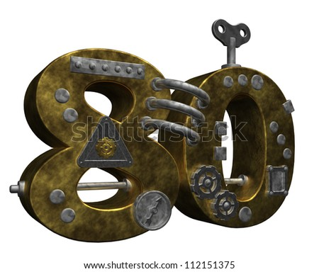 steampunk number eighty on white background - 3d illustration - stock photo