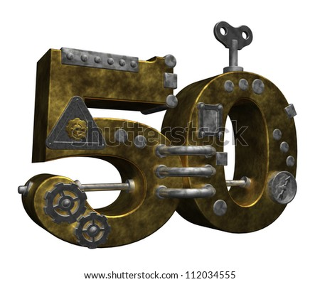 steampunk number fifty on white background - 3d illustration - stock photo
