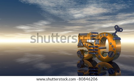 steampunk number fifty under blue sky - 3d illustration - stock photo