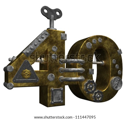 steampunk number forty on white background - 3d illustration - stock photo