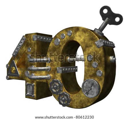 steampunk number forty on white background - 3d illustration