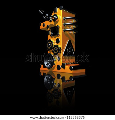 steampunk number one on black background - 3d illustration - stock photo