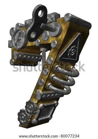 steampunk number seven on white background - 3d illustration - stock photo