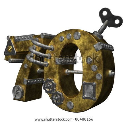 steampunk number seventy on white background - 3d illustration