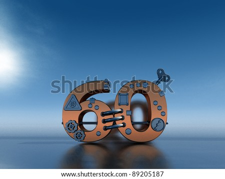 steampunk number sixty  - 3d illustration - stock photo