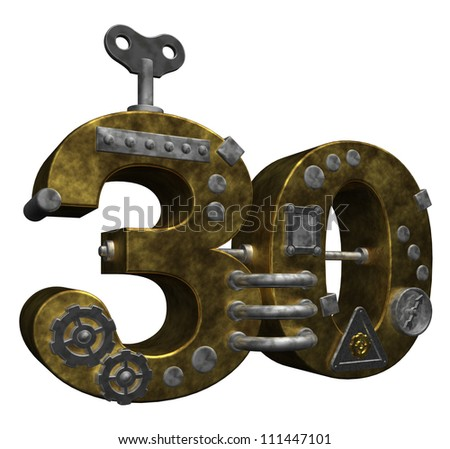 steampunk number thirty on white background - 3d illustration - stock photo