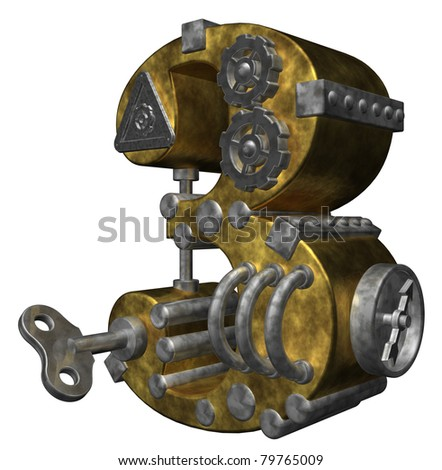 steampunk number three on white background - 3d illustration - stock photo