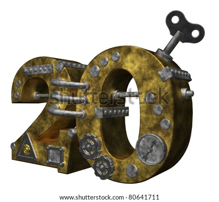 steampunk number twenty on white background - 3d illustration - stock photo