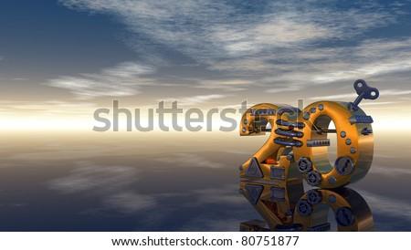 steampunk number twenty under blue sky - 3d illustration - stock photo