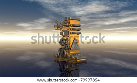steampunk number under cloudy blue sky - 3d illustration - stock photo