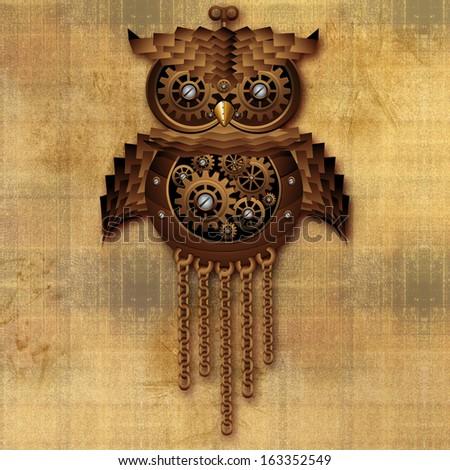 Steampunk Owl Vintage Style - stock photo