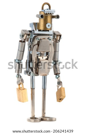 Steampunk robot. Cyberpunk style. Chrome and bronze parts. - stock photo