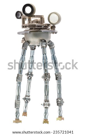 Steampunk robot. Cyberpunk style. Chrome and bronze parts. Isolated on white. - stock photo