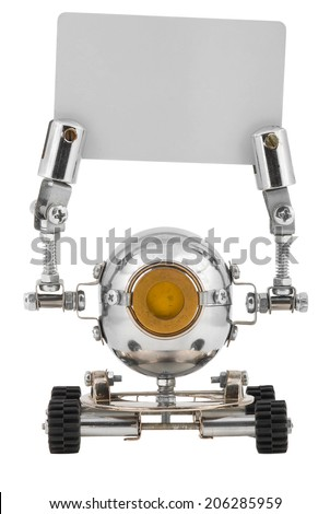 Steampunk robot holding a card. Cyberpunk style. Chrome and bronze parts. - stock photo