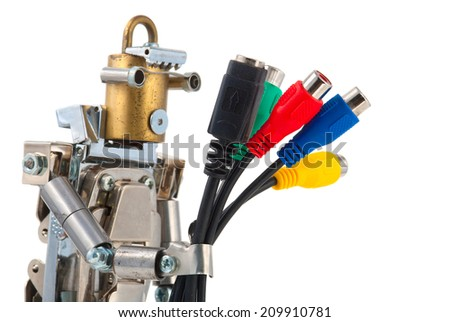 Steampunk robot holding connectors. Chrome and bronze parts. Isolated on white. - stock photo