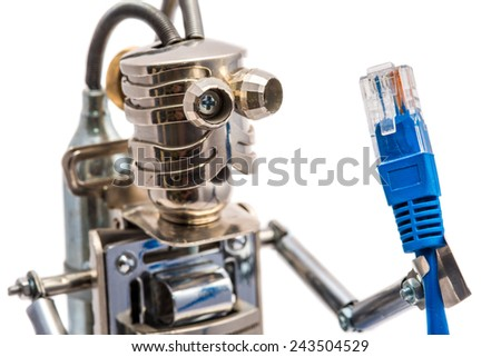 Steampunk robot holding lan cable. Cyberpunk style. Chrome and bronze parts. Isolated on white.  - stock photo