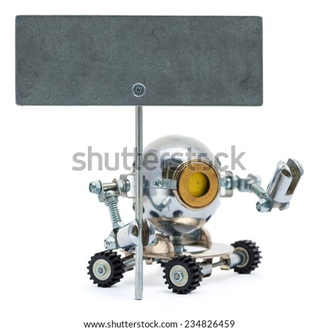 Steampunk robot holding metal sign. Cyberpunk style. Chrome and bronze parts. - stock photo
