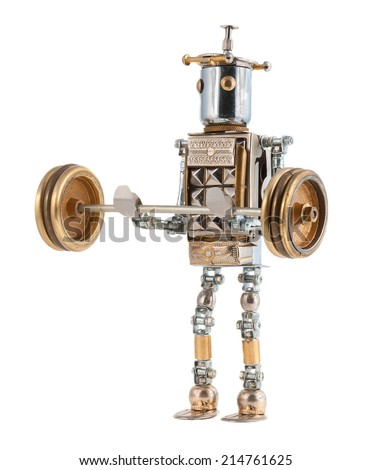Steampunk robot lifting a heavy barbell. Cyberpunk style. Chrome and steel parts. Isolated on white background. - stock photo