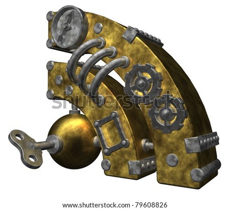 steampunk rss symbol on white background - 3d illustration