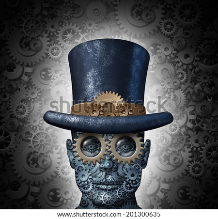 Steampunk science fiction concept as a fantasy mechanical human head made of gears and cogs wearing a historical victorian retro top hat as a technology symbol of futuristic fictional machine hybrid. - stock photo