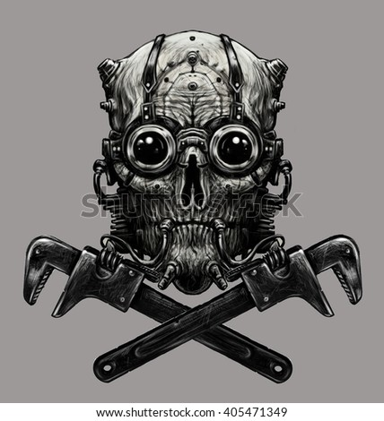 Steampunk skull  with adjustable wrench. Digital illustration.Grey background - stock photo