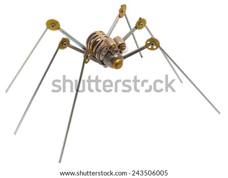 Steampunk spider. Chrome and bronze parts. Isolated on white background. - stock photo