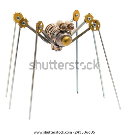 Steampunk spider. Cyberpunk style. Chrome and bronze parts. Isolated on white. - stock photo
