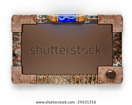 Steampunk style ad board isolated on white background. Excellent material for web-design. Clipping path included. - stock photo
